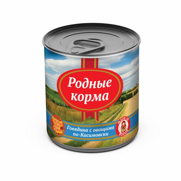 Родные Корма Консервы из натурального мяса для взрослых собак, в ассортименте, 525 г