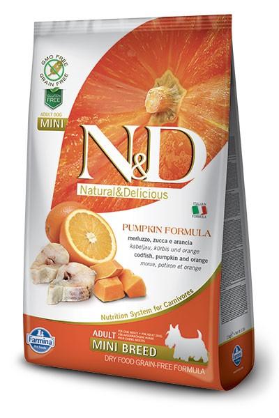 Фармина Корм сухой беззерновой N/D для взрослых собак мелких пород, Треска/Апельсин/Тыква, 2,5 кг, Farmina