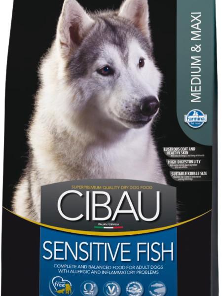 Фармина Корм сухой Cibau Sensitive Fish для взрослых собак средних и крупных пород, Рыба, в ассортименте, Farmina