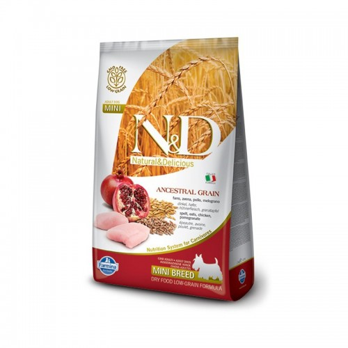Фармина Корм сухой низкозерновой N/D для взрослых собак мелких пород, Курица/Гранат, в ассортименте, Farmina