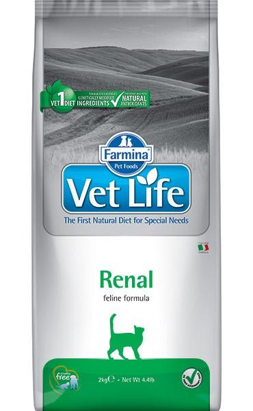 Фармина Корм сухой диетический Vet Life для кошек, поддержание функции почек при почечной недостаточности, Renal, 400 г, Farmina