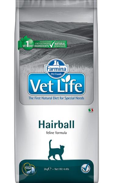 Фармина Корм сухой диетический Vet Life для кошек способствующий выведению комочков шерсти из кишечника, Hairball, 2 кг, Farmina