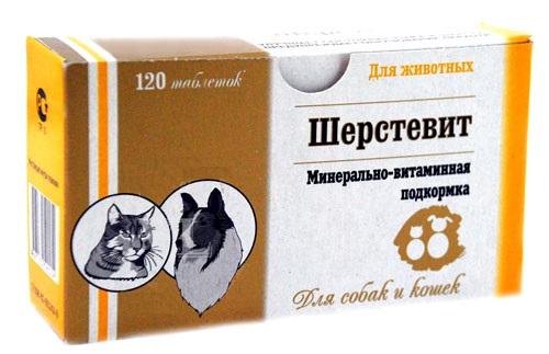 Экопром Минерально-витаминная подкормка Шерстевит для улучшения шерсти для взрослых кошек и собак, 120 таб, Экопром