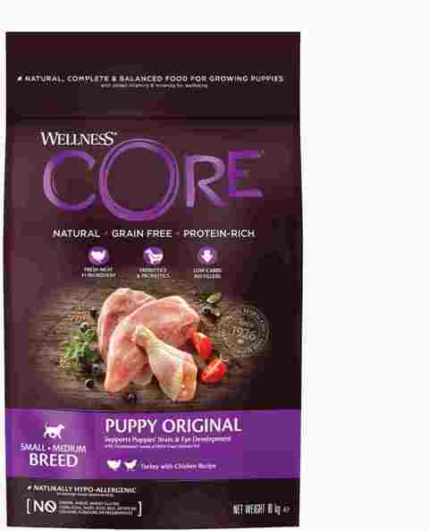 Веллнесс Корм сухой Core Puppy беззерновой для щенков мелких и средних пород, Индейка/Курица, в ассортименте, Wellness