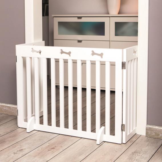 Трикси Деревянная барьер-перегородка трехсекционная белая, от 82 до 124 см, высота 61 см, Trixie