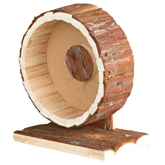 Трикси Деревянное колесо Natura с корой на подставке для белок, хомяков, диаметр 20 см, Trixie