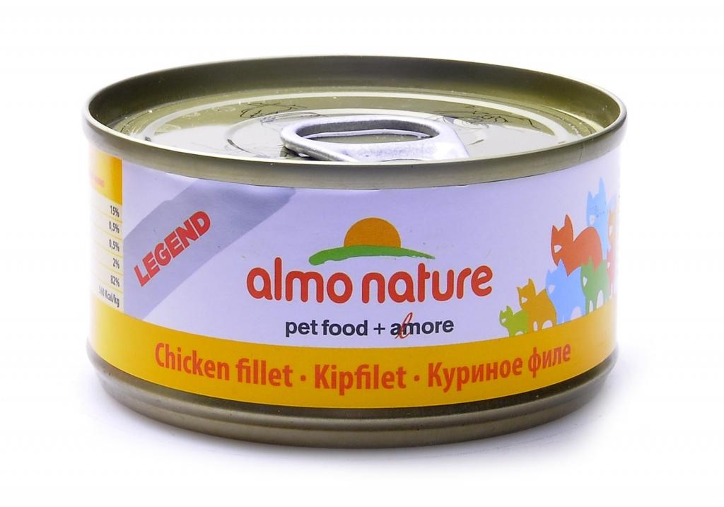 Алмо Натуре Консервы Legend HFC Chicken 75% мяса для взрослых кошек, 70 г, в ассортименте, Almo Nature