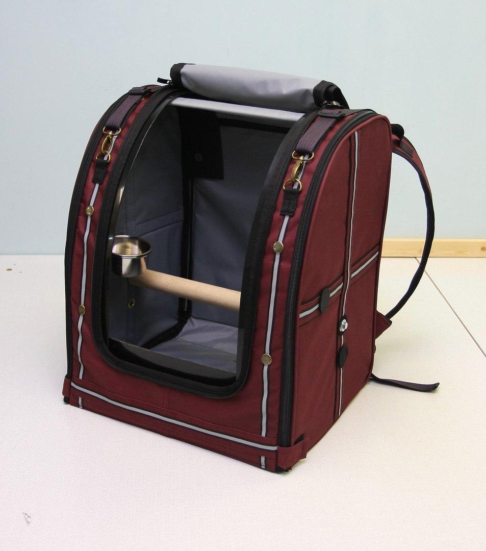Переноска-рюкзак StePan для птиц, 39*30*45 см, бордовый, вес 1,7 кг
