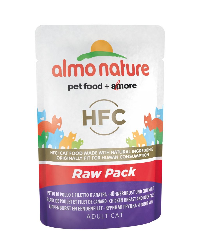 Алмо Натуре Паучи Classic Raw Pack HFC Сhicken 75% мяса для взрослых кошек, 55 г, в ассортименте, Almo Nature