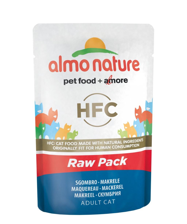 Алмо Натуре Паучи Classic Raw Pack Fish HFC 75% мяса для взрослых кошек, 55 г, в ассортименте, Almo Nature