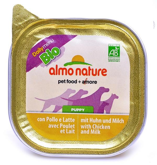 Алмо Натуре Консервы Daily Menu Bio для щенков, Курица/Молоко, в ассортименте, Almo Nature