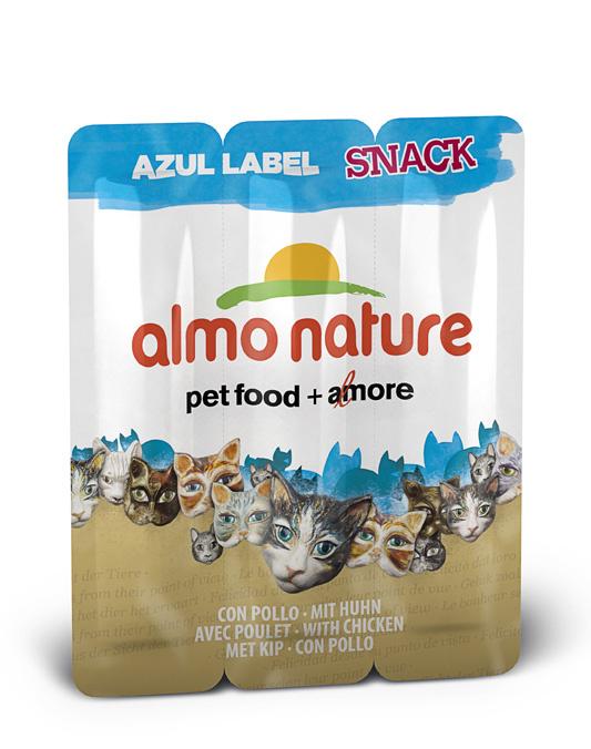 Алмо Натуре Колбаски Azul Label Snack для кошек, 3*15 г, в ассортименте, Almo Nature