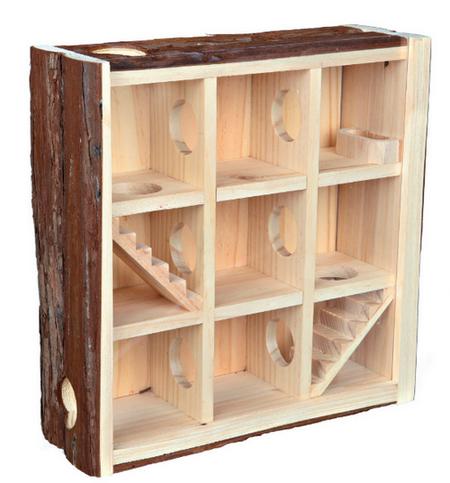 Трикси Игровой комплекс Лабиринт с акриловым стеклом для мелких грызунов, 30*30*10 см, дерево, вес 1,2 кг, Trixie
