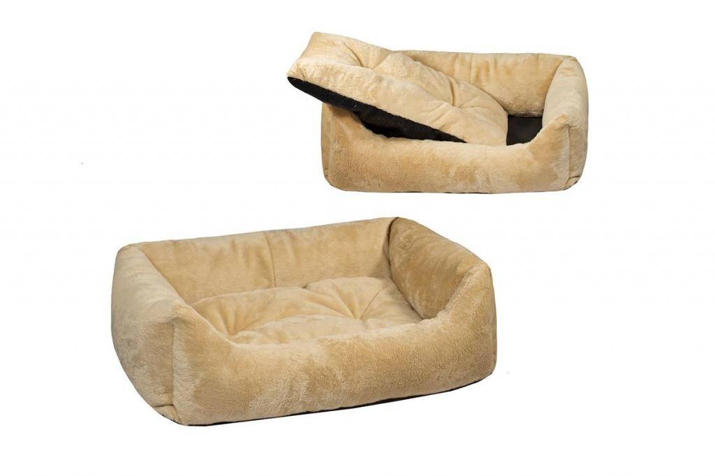 Дарэлл Лежак прямоугольный пухлый с подушкой Zoo-M Lion для собак, 87*64*24 см, бежевый, Darell