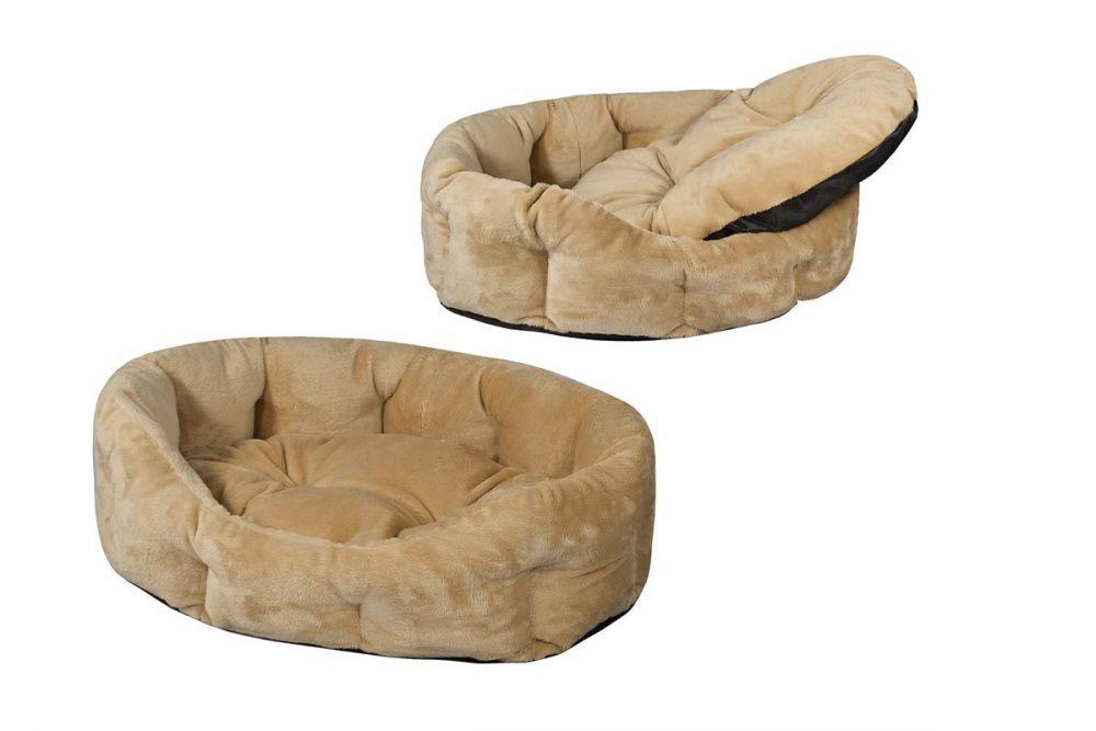 Дарэлл Лежак прямоугольный пухлый с подушкой Zoo-M Puma для собак, 75*60*22 см, бежевый, Darell