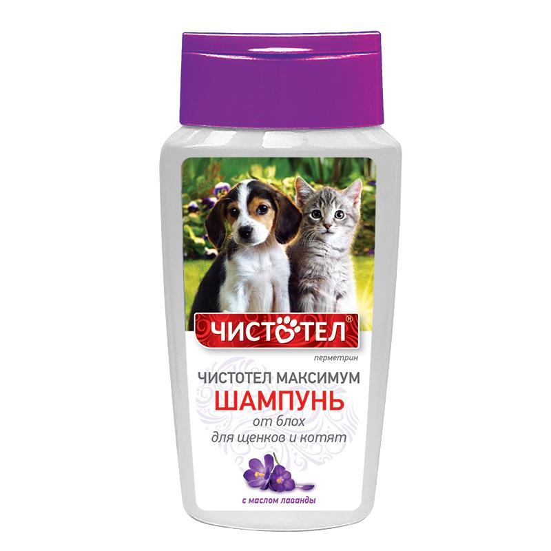 Экопром Шампунь Чистотел Максимум от блох с маслом лаванды для щенков и котят, 180 мл