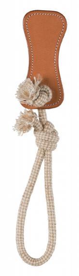Трикси Игрушка тягалка-аппорт для собак, кожаная кость с веревкой, 14*38 см, кожа, Trixie