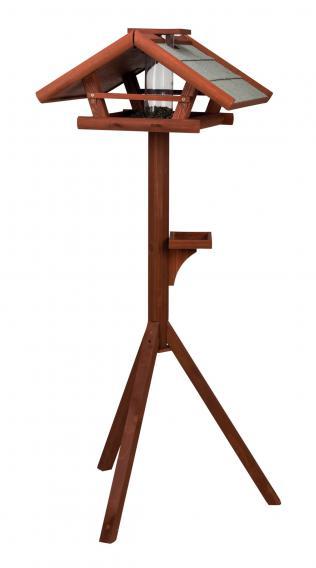 Трикси Кормушка-домик деревянная с подставкой и автокормушкой, для птиц и грызунов, 53*53*28 см, высота 1,4 м, Trixie