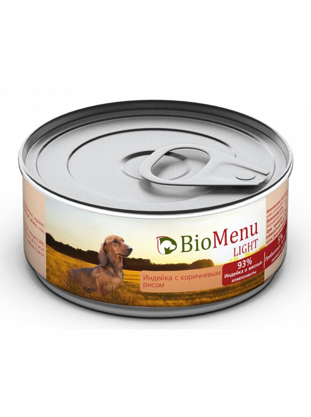 БиоМеню Консервы Light для взрослых собак с избыточным весом, Индейка/Коричневый рис, в ассортименте, BioMenu