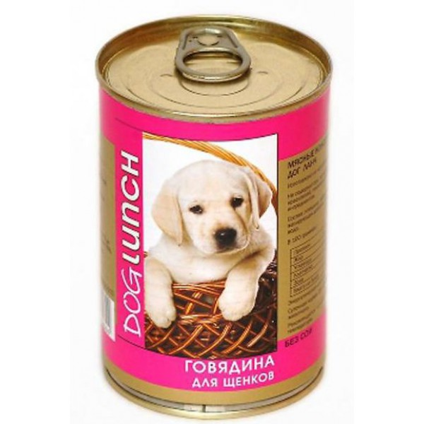 ДогЛанч Консервы в желе для щенков, Говядина, 12*410 г, Dog Lunch