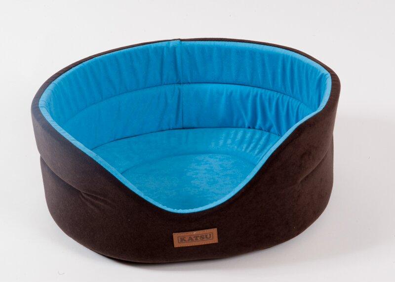 Катсу Лежак Suedine для собак и кошек, коричневый/голубой, 46*42*18 см, Katsu