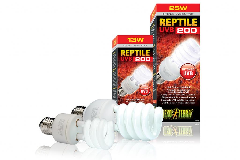 Экзо Терра Лампа с УФ Reptile UVB200 для пустынных террариумов, в ассортименте, Exo Terra