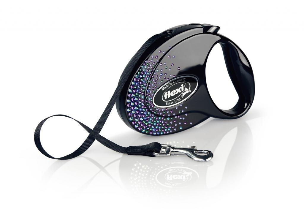 Флекси Рулетка ленточная Glam Splash Mystic, черная, с синими кристаллами Сваровски, в ассортименте, Flexi