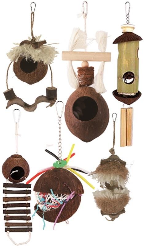 Фауна Интернешнл Игрушка-домик для птиц, в ассортименте, кокос/дерево, Fauna International