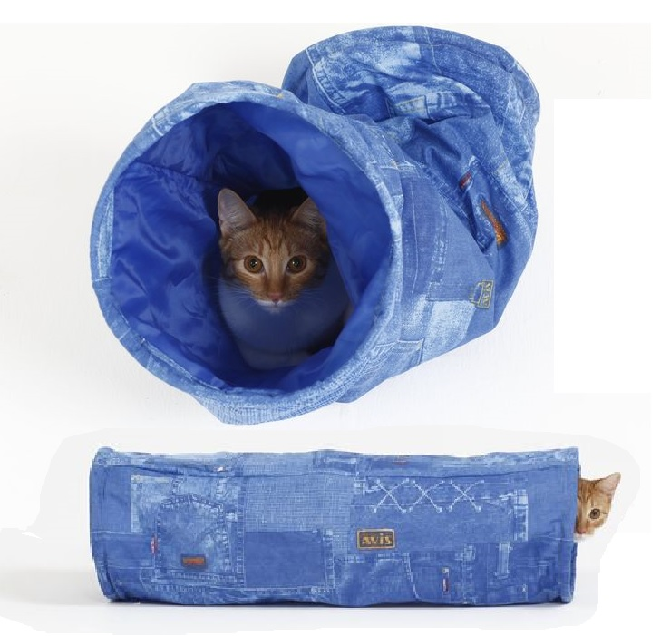 Великий кот Тоннель с мятой и шуршащим элементом для кошек, 22*65 см, ткань