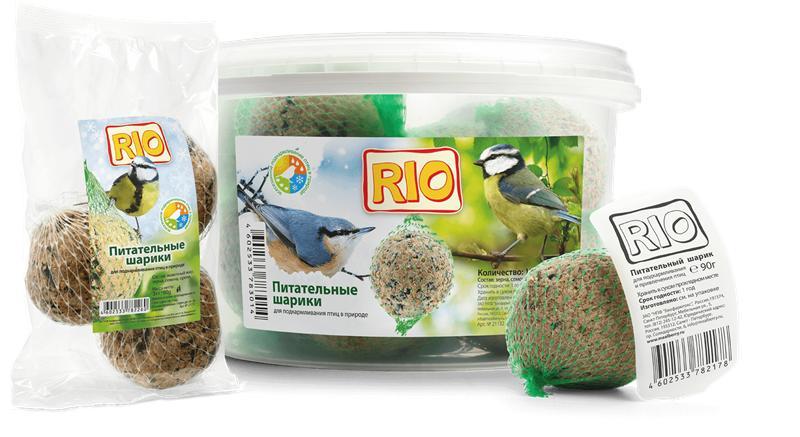 Рио Питательные шарики Fat balls для подкармливания и привлечения птиц, ведро, 12*90 г, Rio