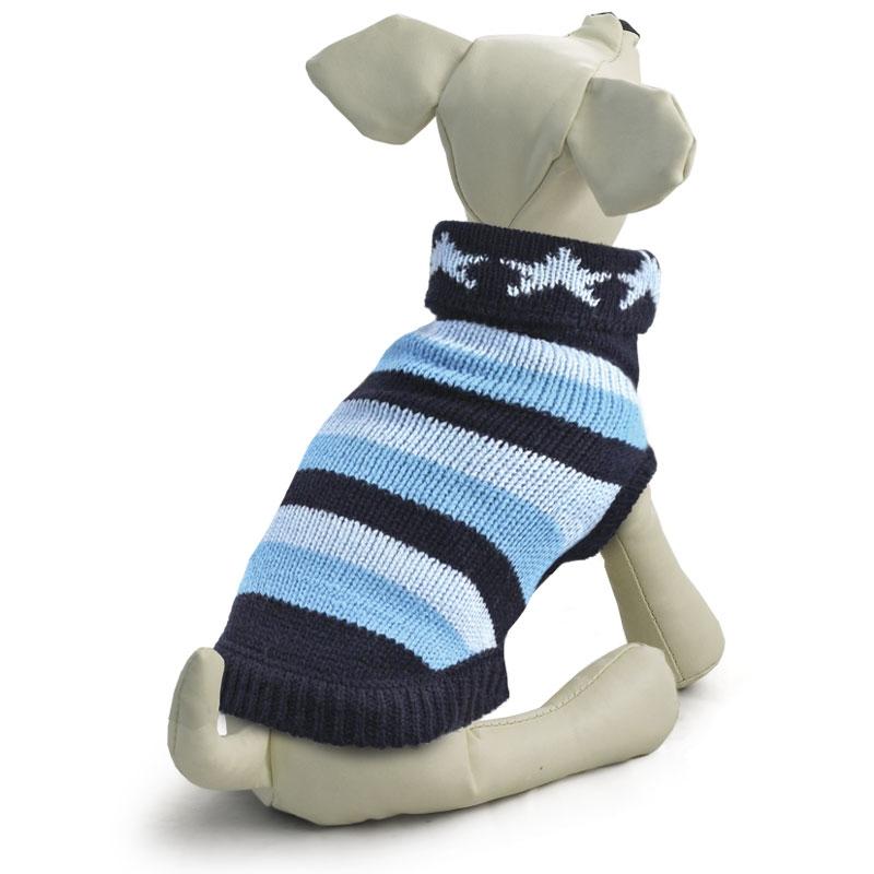 Триол Свитер с высоким воротником Звезды для собак, в ассортименте, сине-голубой, акрил, Triol