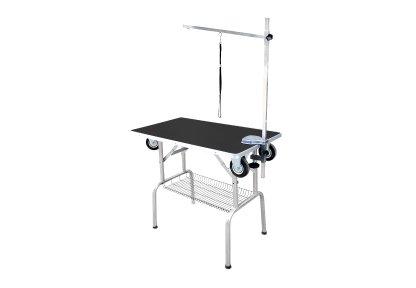 Грумерский стол складной на колесах SS Trolley Table, трансформируется в тележку, 95*55*78 см, черный, Transgroom