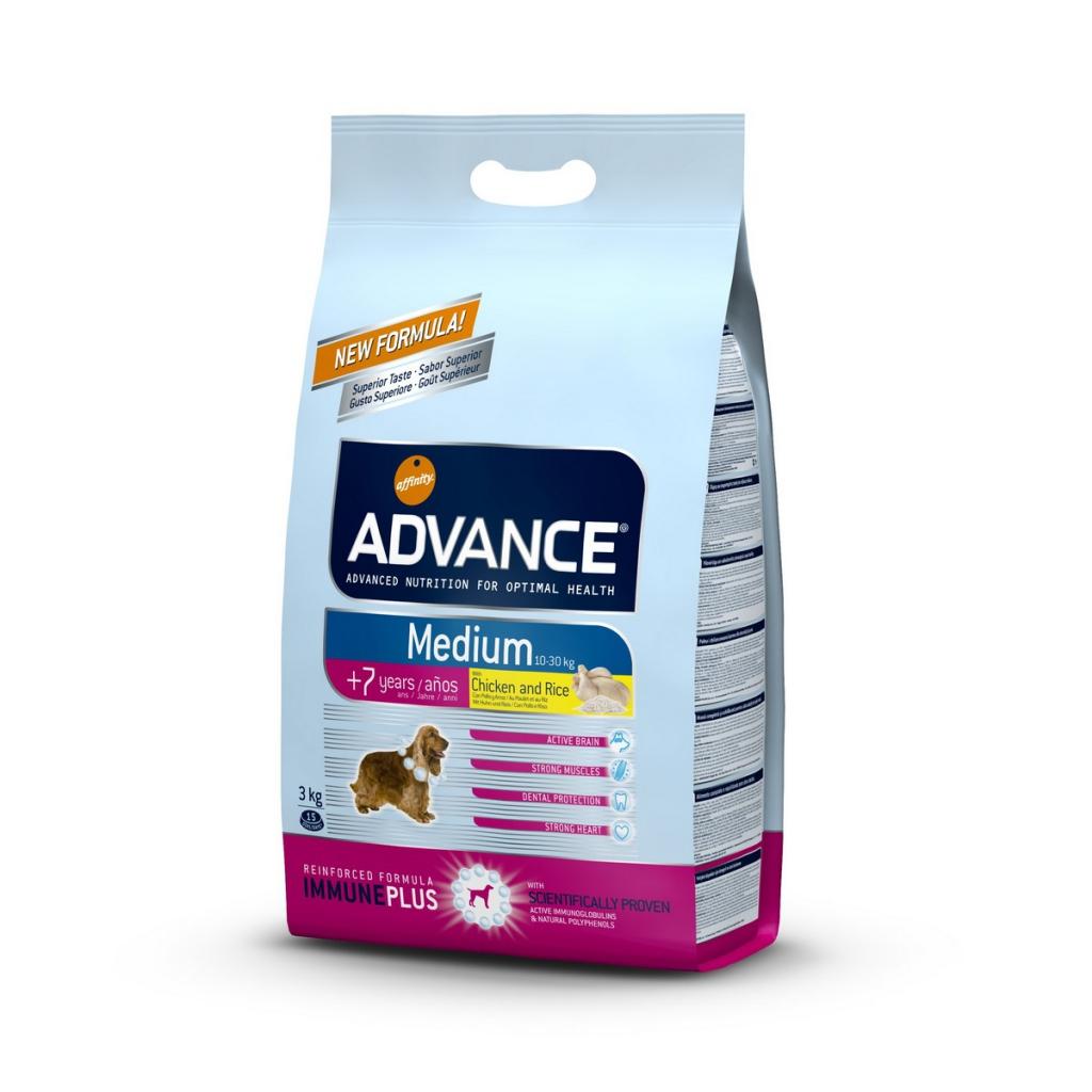 Эдванс Корм сухой Medium Senior для пожилых собак средних пород, Курица/Рис, в ассортименте, Advance