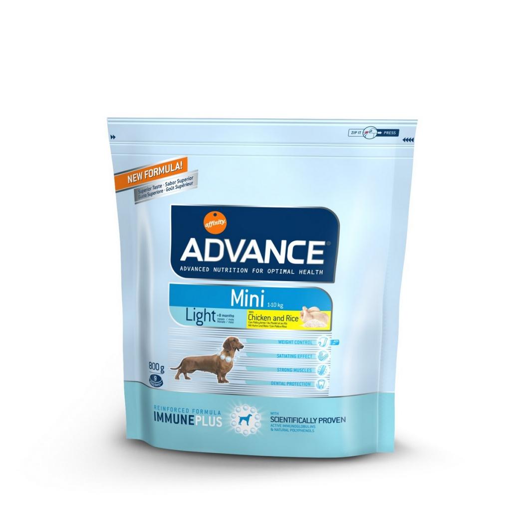 Эдванс Корм сухой Mini Light Контроль веса для собак мелких пород, Курица/Рис, 3 кг, Advance