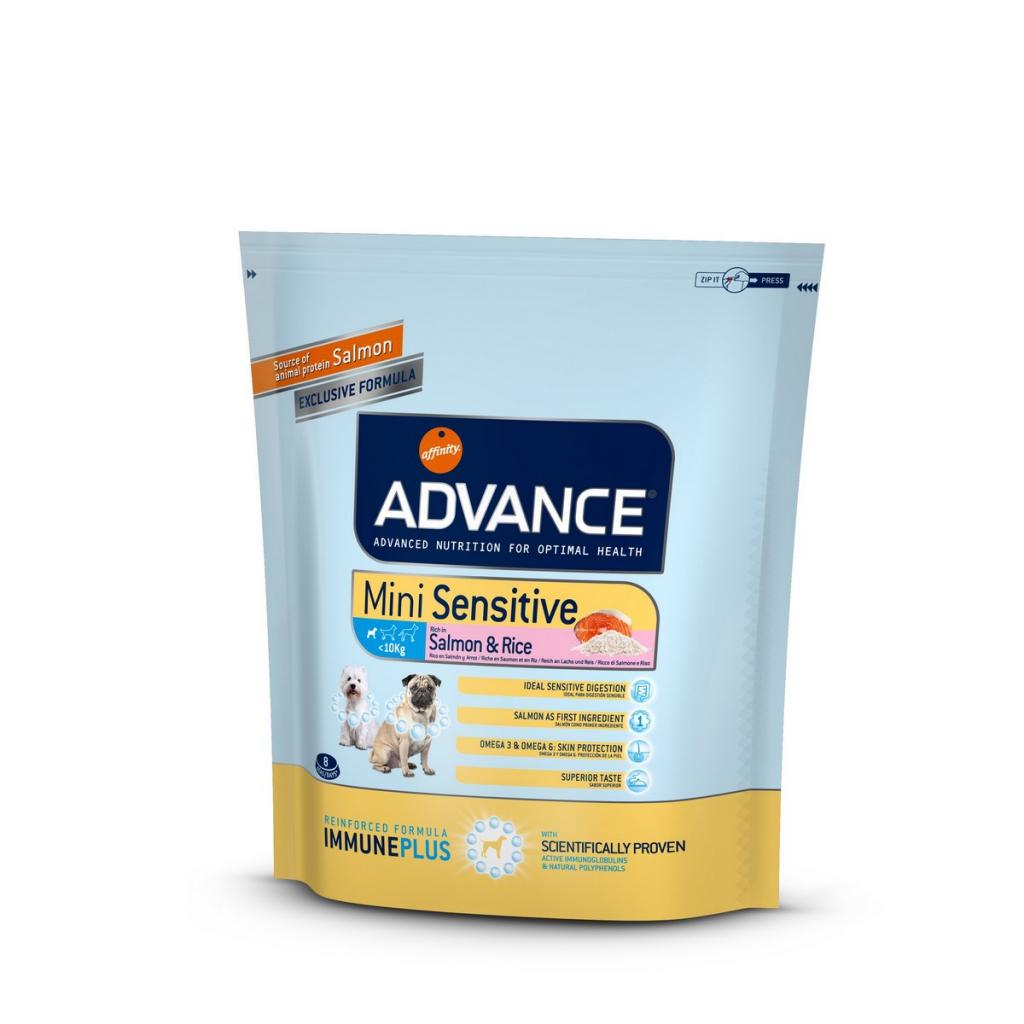 Эдванс Корм сухой Mini Sensitive для собак мелких пород с чувствительным пищеварением, Лосось/Рис, в ассортименте, Advance