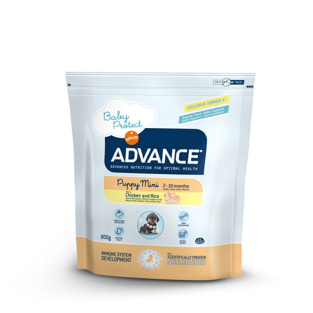 Эдванс Корм сухой Baby Protect Puppy Mini для щенков мелких пород от 2 до 10 месяцев, Курица/Рис, в ассортименте, Advance