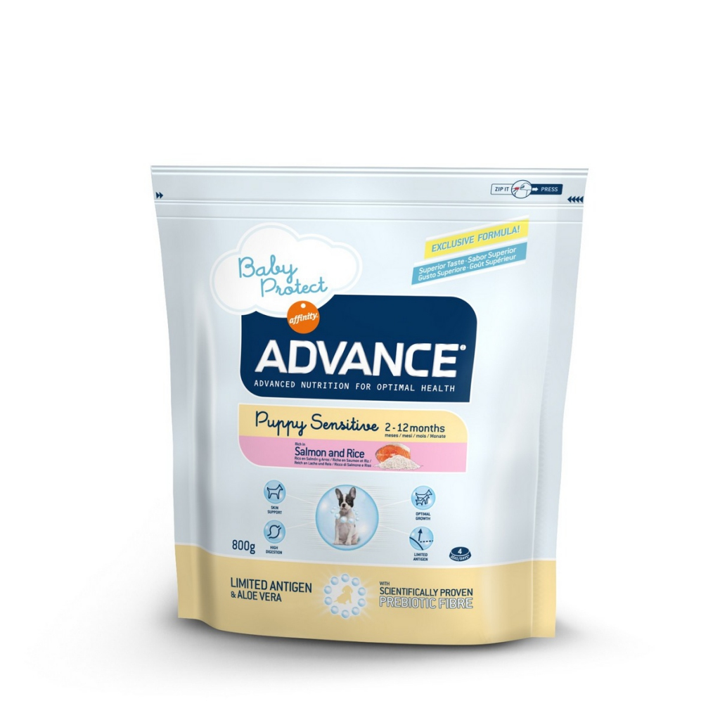 Эдванс Корм сухой Puppy Sensitive для щенков с чувствительным пищеварением от 2 до 12 месяцев, Лосось/Рис, в ассортименте, Advance