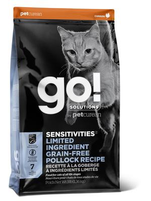 ГОУ Корм сухой беззерновой Sensitivities для котят и кошек с чувствительным пищеварением, Минтай, Solutions Grain Free Pollock Recipe, в ассортименте, Go! Natural