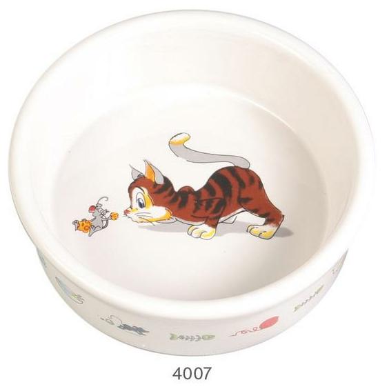 """Трикси Миска керамическая """"Веселая кошка"""", 200 мл, диаметр 11,5 см, Trixie"""