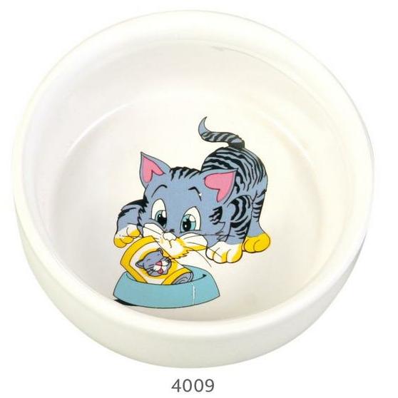 """Трикси Миска керамическая """"Голубой котенок"""", 300 мл, диаметр 11 см, Trixie"""