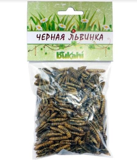 Букахи Сушеные личинки кальциевой мухи Черной Львинки BU-193008 для насекомоядных, в ассортименте, Bukahi