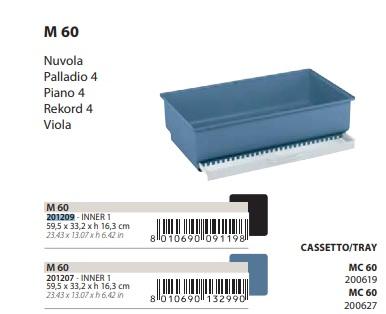 Поддон с выдвижным лотком M60 для клеток Piano 4, Rekord 4, Palladio 4, Nuvola, Viola, 59,5*33,2*16,3 см, синий, Ferplast