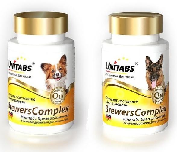 Unitabs Витаминно-минеральая добавка Brevers Complex с Q10 и пивными дрожжами для собак, в ассортименте, 100 таблеток, Экопром