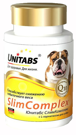 Unitabs Витаминно-минеральная добавка Slim Complex с Q10 для собак с избыточной массой тела, 100 таблеток, Экопром