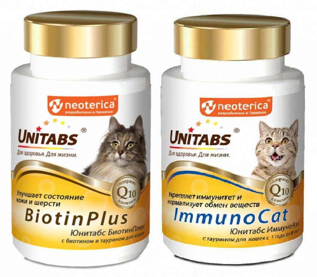 Unitabs Витаминно-минеральная добавка с Q10, биотином и таурином для кошек, в ассортименте, 100 таблеток, Экопром