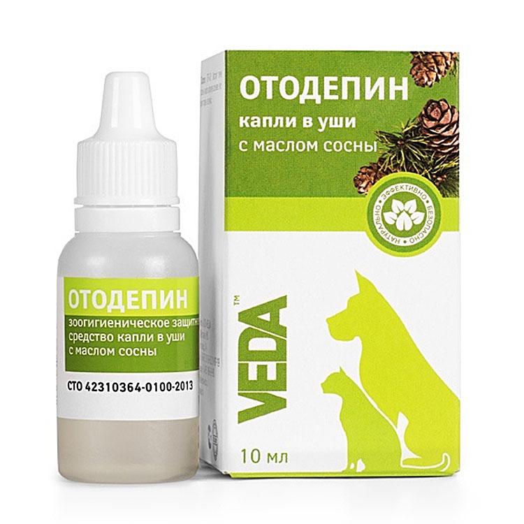 Веда Ушные капли Отодепин с экстрактом хвои для собак и кошек, 10 мл, VEDA