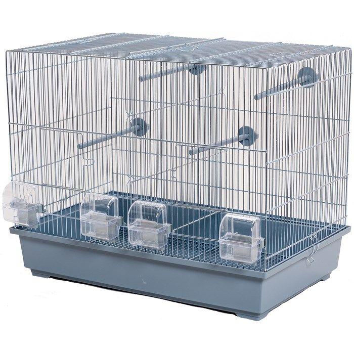 ИнтерЗоо Клетка Messi P243 с разделительной выдвижной решеткой для птиц, 54*38*47 см, оцинкованные прутья, поддоны в ассортименте, InterZoo