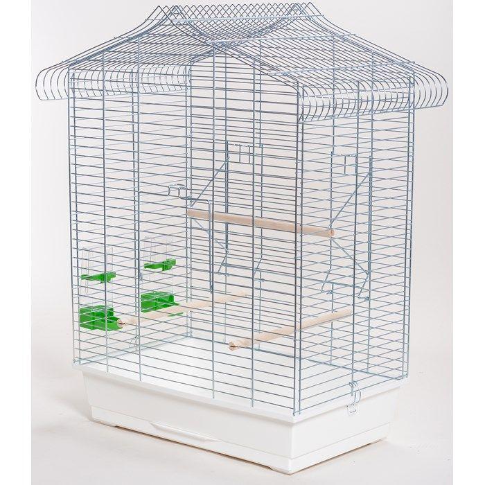 ИнтерЗоо Клетка Vega P303 с площадкой-дверкой для птиц, 61*41*79 см, оцинкованные прутья, поддоны в ассортименте, InterZoo