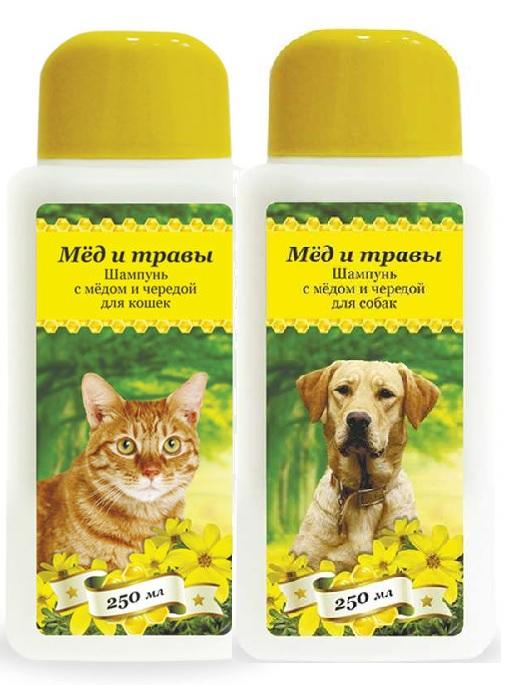 Пчелодар Шампунь с мёдом и чередой для кошек и собак, в ассортименте, 250 мл