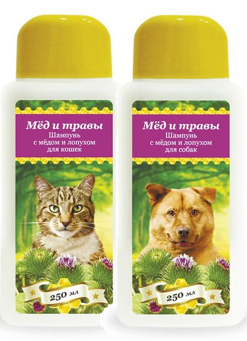 Пчелодар Шампунь с мёдом и лопухом для кошек и собак, в ассортименте, 250 мл